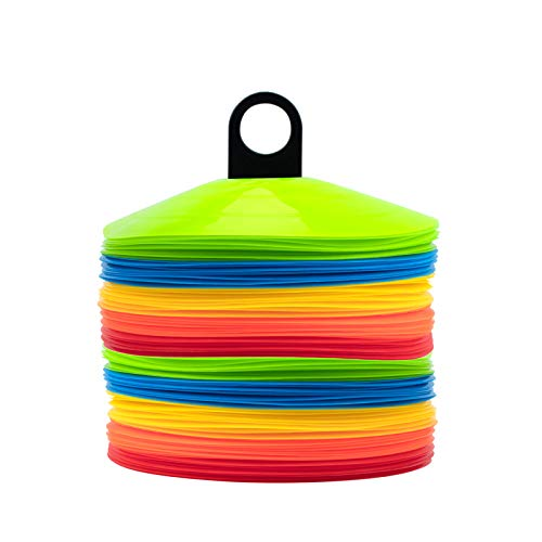 [ 100 Pack ] Disc Cones Agility Soccer Cones with Holder for Training, Football, Kids, Sports, Field Cone Markers,Soccer disc Cones (100)