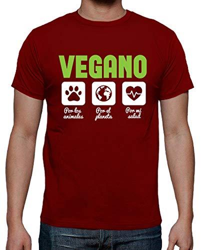 latostadora - Camiseta Vegano para Hombre Rojo M