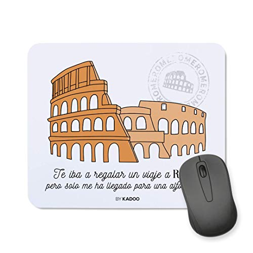 Kadoo Regalos Alfombrilla de Ratón San Valentín Viaje A Roma (Rectangular)