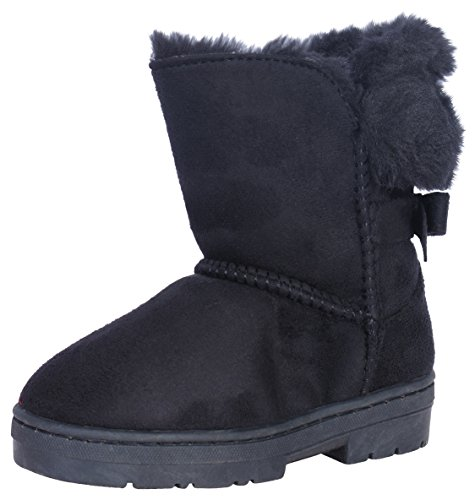 bebe Girls' Faux Fur Lined Winter Boots with Back Bow, Black, Size 12'