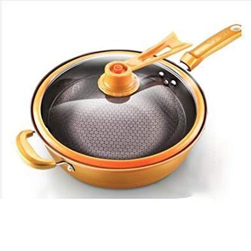 Heigmz Wok - Padella antiaderente in ferro, per conservare il calore, con coperchio verticale