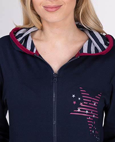 maluuna - Damen Jumpsuit, Onesie, Overall, Einteiler mit Bündchen an Arm- und Beinabschluss aus 100% Baumwolle, Farbe:Navy, Größe:40/42 - 4