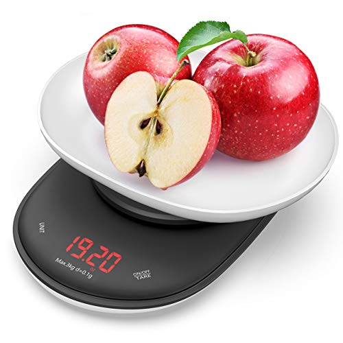 Nicewell Precise 01g 01oz Accuracy Digital Kitchen Food Scale 66lb Max Grams and Oz Capacity Range from 001oz to 106oz 3kg Batteries Included