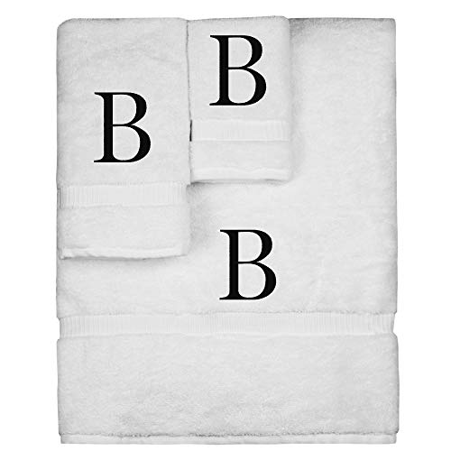 Monogrammed Towel Set, Personalized Gift, Set of 3- Black Block Letter Embroidered Towel - Extra Absorbent 100% Turkish Cotton - Soft Terry Finish - Initial B White
