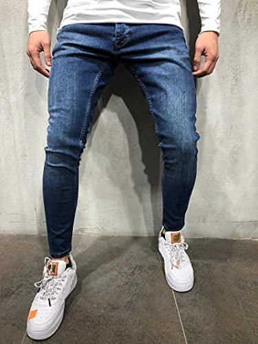 Jeans Vaqueros Pantalon Pantalones Vaqueros De Satén Azul Para Hombre, Pantalones Vaqueros Ajustados Con...