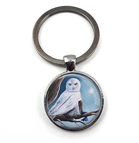 White Snow Owl Girl Best Friend Friendship Key Chain Charm by Shawna Erback Gunmetal Finish