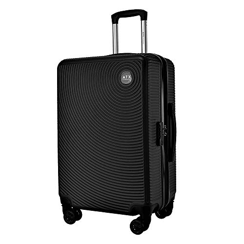 "ATX Luggage 24"" Medium Super Lightweight Durable PC+ABS Hardshell Hold Luggage Suitcases Travel Bags Trolley Case Hold Check in Luggage with 8 Wheels & Built-in TSA Lock (24' Medium, Black 111)"