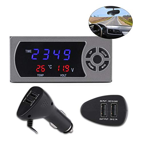 3-in-1 12-24 V LED Auto Uhr Digital Thermometer Voltmeter enthält 1 x Digitales Thermometer Voltmeter Monitor Uhr 1 x KFZ-Steckdose 1 x Halterung