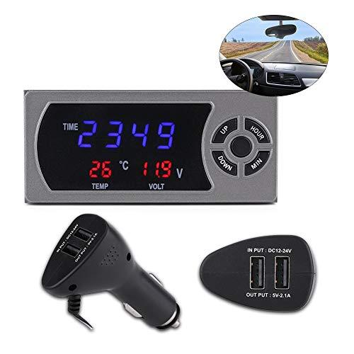 Reloj Electrónico de Voltaje LED, 3-en-1 12-24V, LCD Digital Termómetro para Automóvil, Incluye 1 Reloj de Control para Voltímetro Digital, 1 Enchufe para Auto