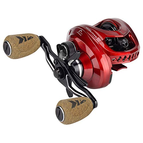 KastKing MegaJaws Baitcasting Reel,9.1:1 Gear Ratio,Right Handed Fishing Reel,Predator Red