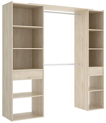 Miroytengo Vestidor Armario ropero 2 cajones habitación Matrimonio Acabado Natural Suit Dormitorio 200x50x205 cm