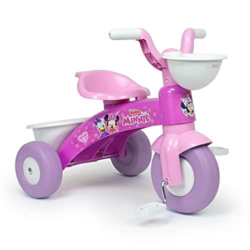 INJUSA - Triciclo Baby Trico Max Minnie Mouse Color Rosa con Cesta Delantera y Cubeta Trasera Portaobjetos Recomendado para Niños y Niñas de 1 a 3 Años