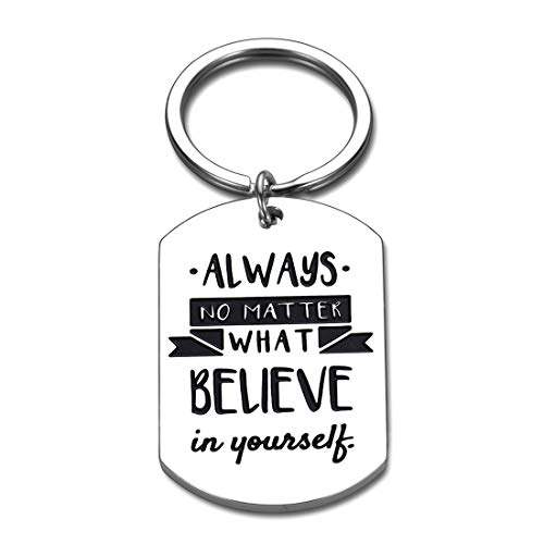 Inspirational Christmas Keychain Gift for Teen Boys Girls Brother Sister Always Believe in Yourself Motivational Birthday Graduation Gift for Him Her Best Friend Colleague Student Family Patient