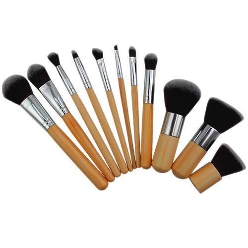 Dragonaur Lot de 11 pinceaux de maquillage avec manche en bois pour fard à paupières, fond de teint, poudre, anti-cernes, fard à paupières, fard à joues Kabuki