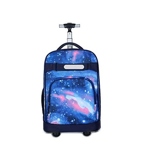 ZXM Rolling Zaino Student Trolley Valigia Unica, Zaino Silenzioso Valigia Caster, Unisex Carry on bagagli con ruote (colore : Blu, Taglia : 18')