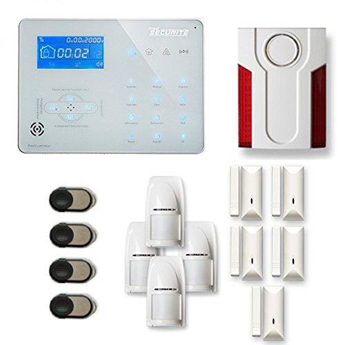 Alarme Maison sans Fil Ice-B 4 à 5 pièces Mouvement + Intrusion + sirène extérieure - Compatible Box Internet