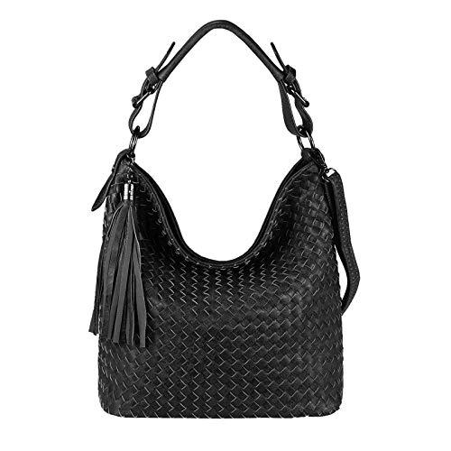 OBC Damen Tasche FLECHT Shopper Hobo-Bag Schultertasche Umhängetasche Handtasche Crossover CrossBag Damentasche Leder Optik Reisetasche Beuteltasche (Schwarz. V1)