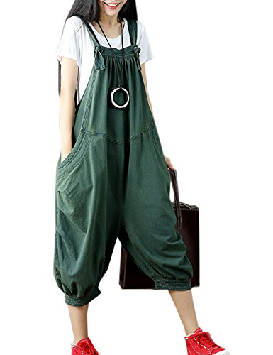 Flygo Women's Loose Baggy Cotton Wide Leg Jumpsuits Rompers Overalls Harem Pants (One Size, Style 01 Green)