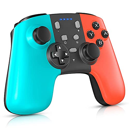 ML S HJDY Gamepad inalámbrico Bluetooth, Gamepad de Tres Colores, Compatible con función de vibración Dual, Compatible con Switch Host y Windows XP / 7/8/10,Left Blue Right Red