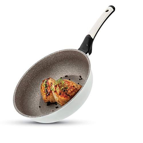 Padella Wok di Grandi Dimensioni di Ceramica Rock, Diametro di 28cm, per Tutti Tipi di Cucine: Induzione e Gas, Elettrico, Ceramica