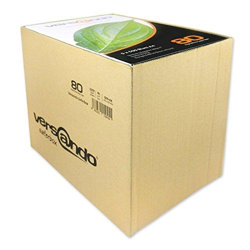 Versando 2500 Blatt Marken Kopierpapier High 80 DIN A4 Druckerpapier Fax Universal Laserpapier, 2500 Blatt, 80 g/qm, weiß in der Saferbox