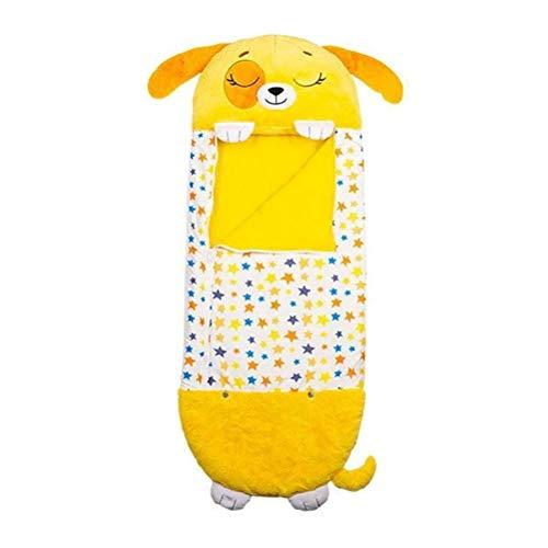Saco de dormir, plegable, suave, almohada divertida, saco de dormir para niños, saco de dormir con almohada, manta para jugar en casa, camping, mejor regalo, perro amarillo
