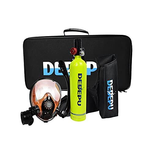 CGGDP Mini 1L Botella de Buceo Botella de oxígeno, Equipos de Tanque de Buceo portátil con Capacidad de 15-25 Minutos, Diver Equipo de Buceo Portátil con Máscara de Snorkel de Cara Completa
