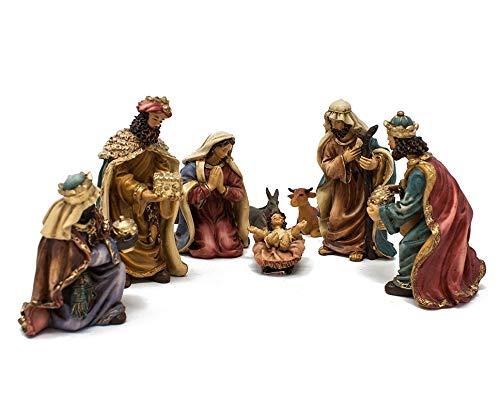 Joy Christmas Natività in Resina Completa da 10 cm Set 8 Pezzi Presepe - 46000