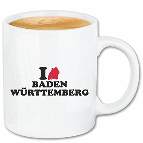 Reifen-Markt Kaffeetasse I LOVE BADEN WÜRTTEMBERG - FREIBURG - EMMENDINGEN - SCHWARZWALD - KAISERSTUHL Keramik 330 ml in Weiß