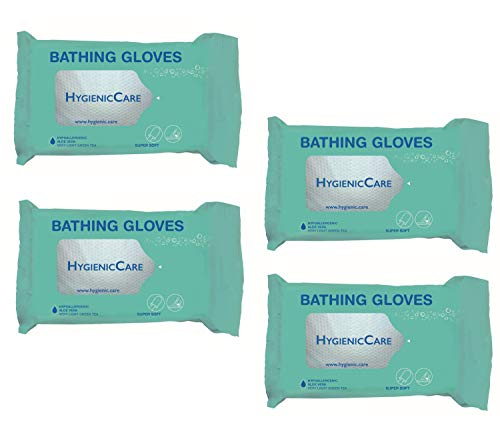 Dr. Helewa Hygiene Waschlappen Waschhandschuh Körperpflege ohne Wasser Handschuh (4 Set = 48 Stück)