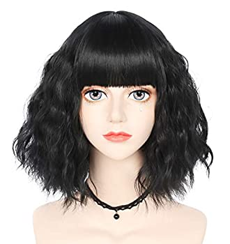 Anogol Women s Black Bob Costume Party Cosplay Wig Short Wavy Wigs With Bangs