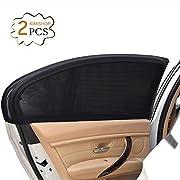 Uarter 2Pcs Pare-Soleil Voiture SPF 30+ Grand -Bloquer les Rayons UV - Protégez Votre Enfant et Animaux - Installation Facile - Compatibles avec la Plupart des Véhicules(Noir)