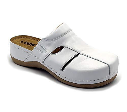 Leon 925 Komfortschuhe Lederschuhe Pantolette Hausschuhe Clog, Damen, Weiß, EU 41