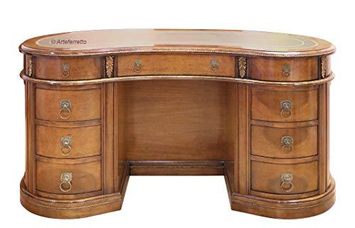 Nierenschreibtisch sehr schön und elegant, klassischer Schreibtisch mit vielen Schubladen für elegante Räume. Handgemachter Schreibtisch aus Holz mit Lederplatte Made in Italy