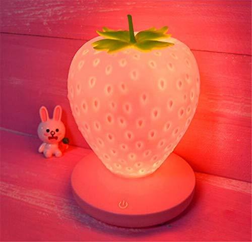LEY Schlafen Nachtlicht-Spaß Erdbeere-Form USB-Lade Silikon-Lampe Noten-Schalter,Rosa