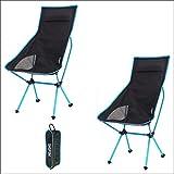 Silla al aire libre silla de camping silla de lujo silla alta silla baja plegable fácil de montar ligero compacto carga conveniente para la salida de pesca y montañismo (D azul 2PCS)