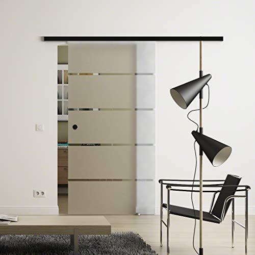 Glas-Schiebetür 1025x2175 mm 5-Streifen-Design Sadora® Slimline-System komplett Laufschiene in Schwarz und Muschelgriffen