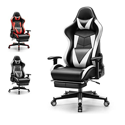 Gaming Chair Office Chair Ergonomic PC Computer Chair with Retractable Footrest Reclining with Headrest and Lumbar Support Gaming Chair for Adults (White)