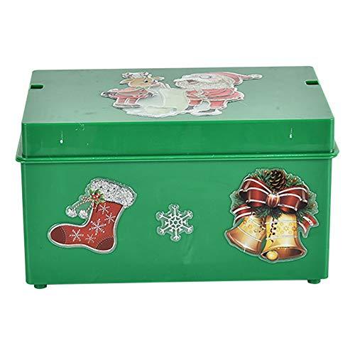 SEDOMCE Christmas Santa Claus Music Box,Electric Santa Claus Singing Flashing Color Projection Christmas Santa Claus Toys Xmas Electric Dolls for Kids (Green)