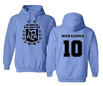 Spark Apparel Soccer Legends #10 Diego Maradona Jersey Style Boys Girls Youth Hooded Sweatshirt (Carolina Blue, Youth Medium)