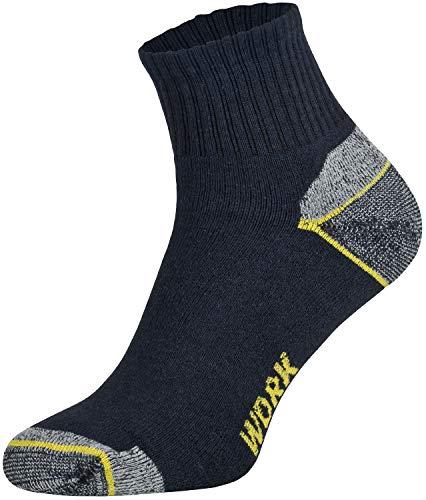 Tobeni 6 Paar Herren Arbeitssocken Work Baumwollsocken - Socken Kurz verstärkte Ferse & Spitze Farbe Blau Grösse 43-46