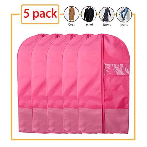 LCAZR 5er-Pack Kleidungsabdeckungen, staubdichte Kleidungsabdeckungen, mottensichere Manteltasche mit Reißverschluss, wasserdichter atmungsaktiver Anzugsschutz, Oxford-Stoff,Pink