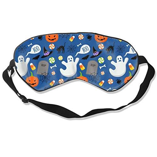 Máscara de seda con diseño divertido de Halloween con correa ajustable para la cabeza para la siesta