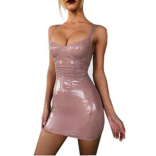 PANZET Sexy Frau Kleid, Sexy Frau Enges Kleid Latex Dessous Lederkleid,Rosa,Small