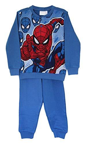Marvel's Spider-Man Baumwolle Schlafanzug Hemdset, Pyjama mit vollen Ärmeln, Nachtwäsche, Loungewear für Jungs (Blau, 3 Jahre)