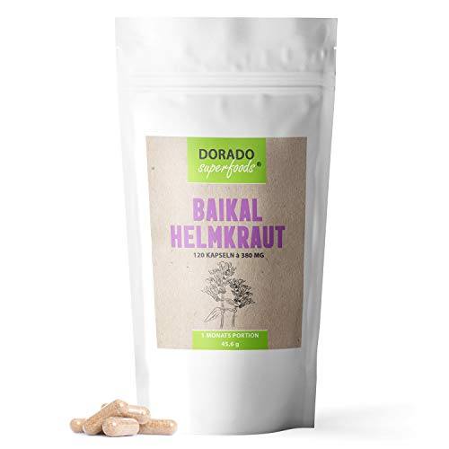 Dorado Superfoods ® Baikal Helmkraut Kapseln | 120 Stück - 1120 mg Tagesdosis | verkapselt in Deutschland - Baicalin