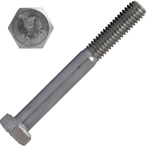 Tornillos hexagonales con vástago M6 x 110 (2 unidades) de acero inoxidable A2 (V2A) DIN 931 / ISO 4014, rosca parcial, tornillo para máquina | AG-BOX