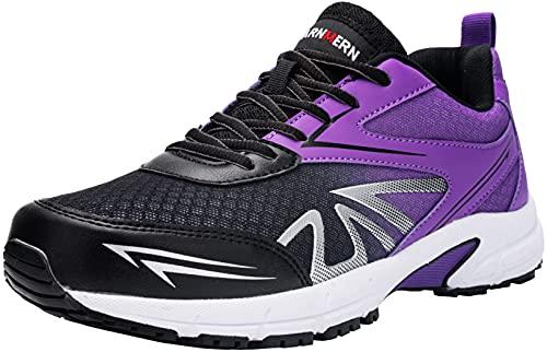 Zapatillas de Seguridad Hombre,LM180105 SB SRC Zapatos de Trabajo con Punta de Acero Ultra Liviano Suave y cómodo Transpirable,43.5 EU,Negro Morado