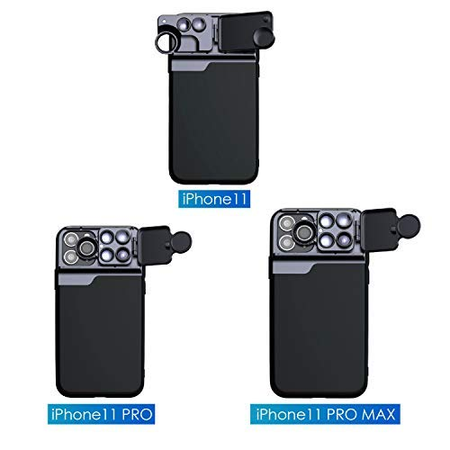 Phone Camera Lens Kit for iPhone 11 Pro Max, 5 in 1 Cell Phone Camera Lens CPL Filter+10X/20X Macro Lens+180° Fisheye Lens+ 2X Telephoto Lens Phone Case (for iPhone 11 Pro Max)