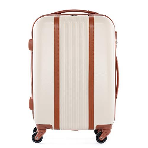 FERGÉ Handgepäck-Koffer Hartschale Milano Bordgepäck Rollkoffer 55 cm Reisekoffer Kabinen-Trolley 4 Rollen beige